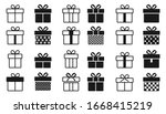 gift box icon set  isolated on... | Shutterstock .eps vector #1668415219