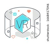 virtual reality related color... | Shutterstock .eps vector #1668417046