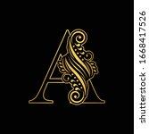 gold letter a. vintage golden... | Shutterstock .eps vector #1668417526