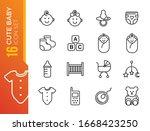minimal cute baby line icon set ...   Shutterstock .eps vector #1668423250