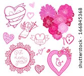 set of different hearts  labels ... | Shutterstock .eps vector #166845368