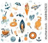 vector set of cute summer icons ... | Shutterstock .eps vector #1668462823