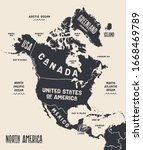 map north america. poster map... | Shutterstock .eps vector #1668469789