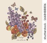vector vintage spring greeting... | Shutterstock .eps vector #1668488806