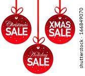 christmas sale tag set | Shutterstock .eps vector #166849070