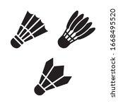 shuttlecock icon set. vector...