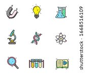 set of science related icons in ... | Shutterstock .eps vector #1668516109