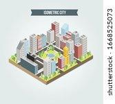 flat isometric map  landscape... | Shutterstock .eps vector #1668525073