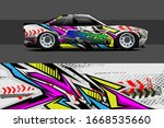 full car wrap design. abstract ... | Shutterstock .eps vector #1668535660