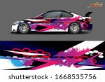 full car wrap design. abstract ... | Shutterstock .eps vector #1668535756