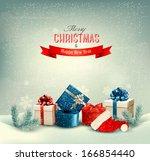 christmas winter background... | Shutterstock . vector #166854440