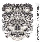 art skull day of the dead.hand...   Shutterstock . vector #1668551830