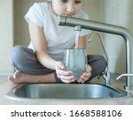 Child Open Water Tap. Kitchen...