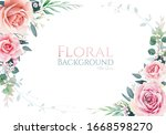 pink and old roses with... | Shutterstock .eps vector #1668598270