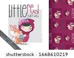 cartoon cute little red riding... | Shutterstock .eps vector #1668610219