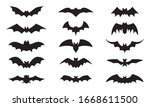 bat icon set isolated on white... | Shutterstock .eps vector #1668611500