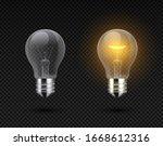 Realistic Light Bulb. Glowing...