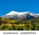 Snow covered San Francisco Peaks near Flagstaff Arizona