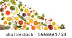 collage of various fresh fruits ...   Shutterstock . vector #1668661753