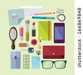 inside woman's bag | Shutterstock . vector #166869848