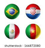 3d soccer balls with group a... | Shutterstock . vector #166872080