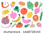 vegetable and fruit bundle ... | Shutterstock .eps vector #1668728143