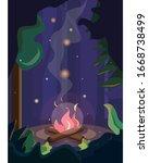 bonfire in the wild forest.  | Shutterstock . vector #1668738499