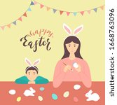 happy easter theme. mother and... | Shutterstock .eps vector #1668763096