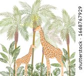 illustration of giraffes in... | Shutterstock .eps vector #1668767929