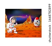 astronaut man in red white suit ... | Shutterstock .eps vector #1668782899