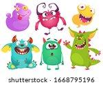 cute cartoon monsters. set of... | Shutterstock . vector #1668795196