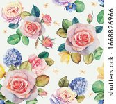seamless floral pattern with... | Shutterstock .eps vector #1668826966