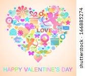 valentines  card  | Shutterstock .eps vector #166885274