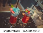 colorful cocktail in glass with ... | Shutterstock . vector #1668855010
