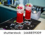 colorful cocktail in glass with ... | Shutterstock . vector #1668859309