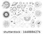 vector illustration set of moon ... | Shutterstock .eps vector #1668886276