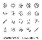 vector set of virus line icons. ... | Shutterstock .eps vector #1668888076