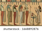 ancient egyptian mural...   Shutterstock .eps vector #1668892876
