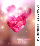 polygonal pink hearts. vector... | Shutterstock .eps vector #166889804