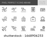 airport vector line icons. air... | Shutterstock .eps vector #1668906253