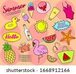 hello summer collection. vector ... | Shutterstock .eps vector #1668912166