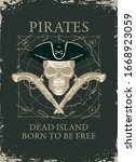 Vector Banner With Pirate Skul...