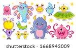 vector set with monsters in... | Shutterstock .eps vector #1668943009