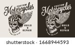 vintage custom motorcycle shop... | Shutterstock . vector #1668944593