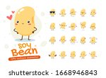 mascot set of the soy bean.... | Shutterstock .eps vector #1668946843