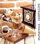 ice cream cone shot  appetizer  ... | Shutterstock . vector #1668961243