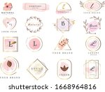 set of hand drawn watercolor... | Shutterstock .eps vector #1668964816