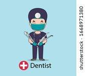 dentist  cartoon character...   Shutterstock .eps vector #1668971380