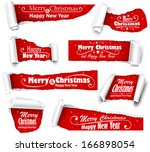 collection of red paper with... | Shutterstock .eps vector #166898054