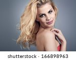 beautiful young woman with... | Shutterstock . vector #166898963